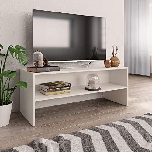UnfadeMemory Mueble para TV,Mesa para TV,Estante de TV para Salón Dormitorio,Estilo Clásico,con Compartimento Abierto,Madera Aglomerada (Blanco, 100x40x40cm)