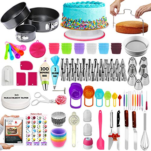 RFAQK 360pcs Cake Decorating Supplies for Beginners | All-in1 Cake Decorating Tools Kit for Baking, Decorating, Serving –3 Springform Pans, 48 Numbered Icing Tips, Cake Turntable, Piping Bags,Spatula