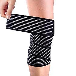 Yosoo Sportbandage, für Knie, Oberschenkel oder Wade, zur Kompression bei Verletzungen und Schmerzen, schwarz, hohe Elastizität, 1 Stück