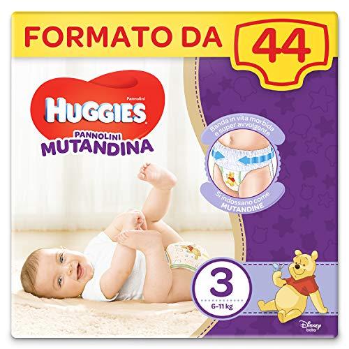 HUGGIES Pannolino Mutandina, Taglia 3 (6-11 Kg), Confezione da 44 Pezzi