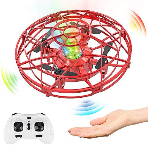 Baztoy Drone Enfant à la Main Mini UFO Fly Spinner 2,4GHz RC Hélicoptère Avion Télécommande Lumineux Induction Infrarouge Jouets Enfants Cadeau Garçons Filles 3 4 5 6 7 8 Ans Jeux Extérieur Intérieur