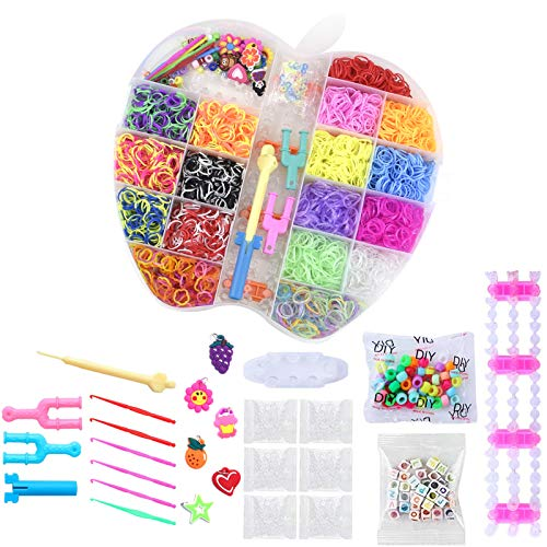 Loom Bänder Kit,DIY Gummibänder Starter Set Gummibänder Set, Bunt Loom Bänder Starter Box Set mit Webrahmen und Häkeln
