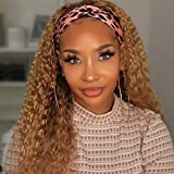 RUISENNA Curly Headband Human Hair Wigs for Black Women Long Ombre Blonde Two Tone Color Kinky Curly Wigs None Lace Front Wig 150% Density 1b/27 Color 20 Inch