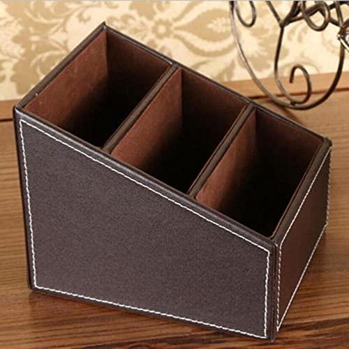 Caja de almacenamiento de cuero con control remoto para teléfono y TV para el hogar, organizador de escritorio, estuche de almacenamiento para oficina en casa, marrón