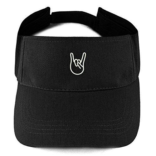 Trendy Apparel Shop Rock On Emoticon Embroidered Summer Adjustable Visor - Black