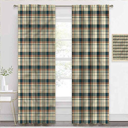 painting-home Blackout Window Curtains Retro, Checkered Squares Stripes Sliding Door Insulated Curtains Help Improve Your Sleep W72 x L84 Inch