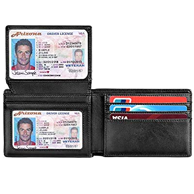 RUNBOX Wallets for Men RFID BLOCKING Leather Stylish Bifold Mens Wallet with 2 ID Windows