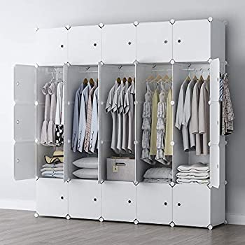 GEORGE&DANIS Portable Closet Wardrobe Cube Storage Cube Organizer Cube Shelf Armoire Bedroom Dresser Pantry Cabinet  71x18x71 inches  5x5 Tiers White