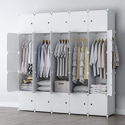GEORGE&DANIS Portable Closet Wardrobe Cube Storage Cube Organizer Cube Shelf Armoire Bedroom Dresser Pantry Cabinet (71x18x71 inches) 5x5 Tiers, White