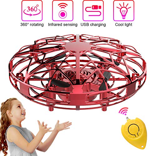 Mini Drones per Bambini e Adulti, Flying Ball Toy Controllato a Mano con Luce a LED e Rotazione di 360°, Regali per Ragazzi e Ragazze (Blu) (Rosso)