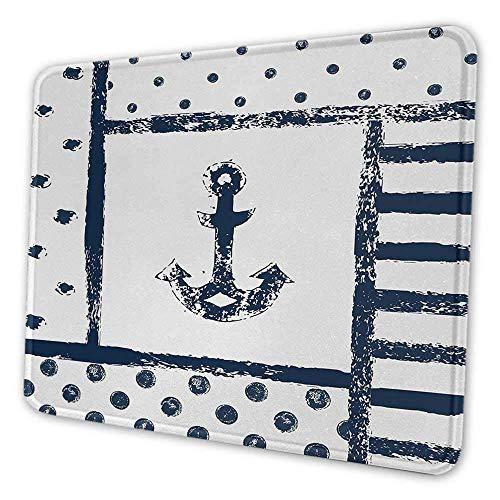 Anchor Cute Mouse Pad Grunge Trübe Boot Anchor Silhouette mit Polka und Streifen Retro Navy Theme Art Mouse Pad für Frauen Büro Dunkelblau Weiß