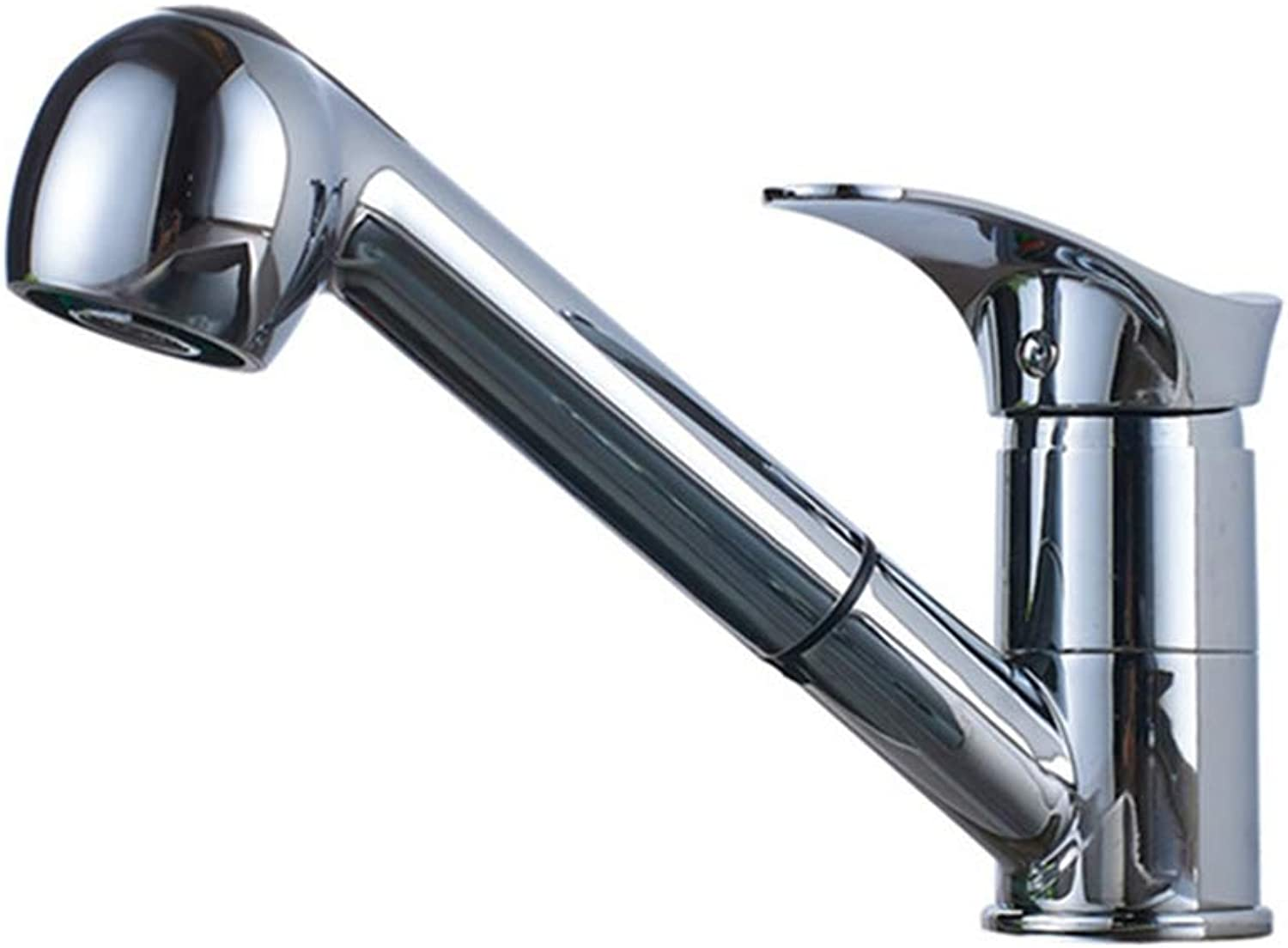 FZHLR Kitchen Black Beige Chrome golden Brushed Single Handle Faucet Pull Down Deck Mounted Crane for Sinks Hot and Cold Water Mixer Faucet,Chrome