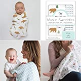 Amazing Baby Cotton Muslin Swaddle Blankets, Set of 3, Outdoor Adventure, Neutral