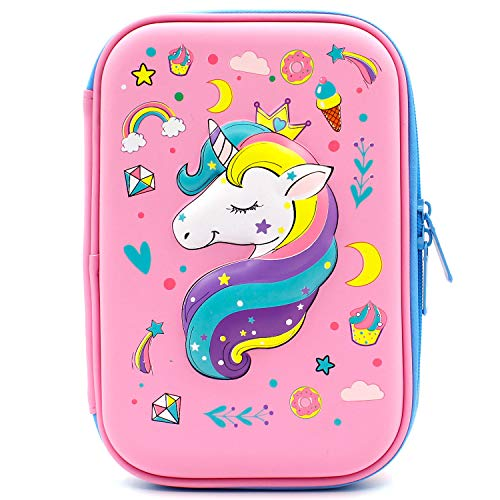 Crown Unicorn Gifts for Girls - Cute Big Size Hardtop Pencil Case with Compartment - Kids School Supply Organizer Stationery Box Zipper Pouch (Light Pink)