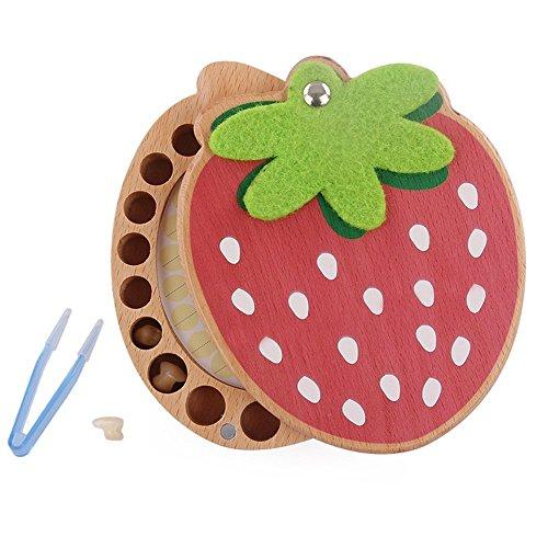 Demarkt Holz Milchzähne Box Baby Milch Zähne Aufbewahrungs box für Kinder Jungen Mädchen Prinz prinzessin Zahnbox Zahndose Milchzahndose Zahndöschen Erdbeer Form
