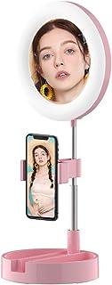 Selfie LEDリングライト、電話ホルダー付き、6.3インチポータブル 自撮りLED スマホスタンド プ調光可能リング 撮影ライトスタンド、折畳み式 スタンド一体式、調整ミラーデスクメイクアップランプTik Tok に適用 YouTubeビ...