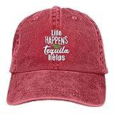 Jopath Life Happens,Tequila Ayuda. Gorra de béisbol unisex ajustable al aire libre malla gorra camionero sombreros