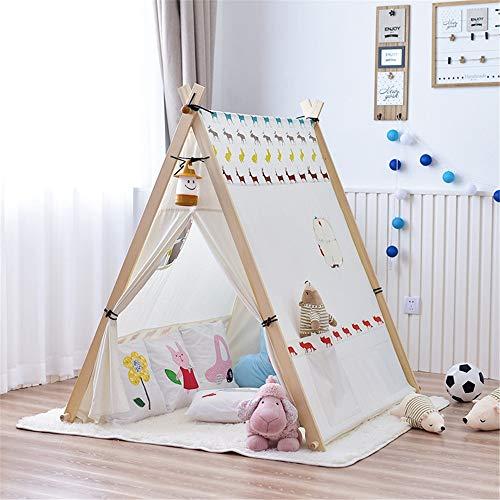 Tipi tent voor kinderen Opvouwbare Katoenen Doek Tent Schattige Dieren Patroon For Kinderen Spelen Tent Indische Tent Met Onderste Kussen En Handtas Gebruik binnen en buiten