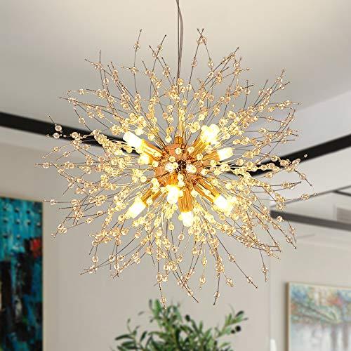Modern Creative LED Pendelleuchte Gold Löwenzahn Hängeleuchten Höhenverstellbar Wohnzimmer lampe Kristall Hängelampe Eisen 8*G9 Fassung Ø40cm Warmweiß für Schlafzimmer Esstisch(Golden)