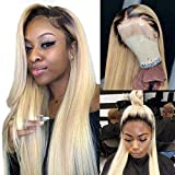Arenshxc Ombre Blond Perücke Real Human Hair 1b/613 4x4 Lace Closure Perücke Natural Hairline Pre Plucked Brazilian Remy Hair Straight Tow Tone Dark Roots Blond Wis 9a Grade 22 Zoll