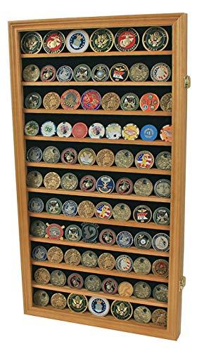 Large Military Challenge Coin Display Case Cabinet Rack Holder (Oak Finish)