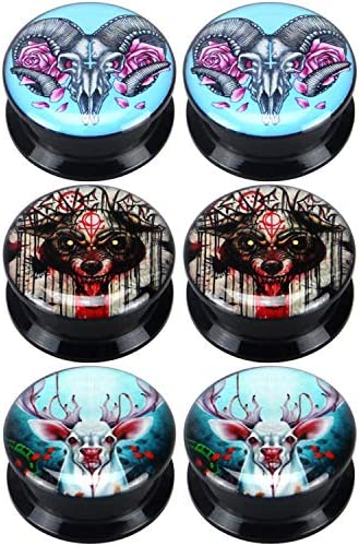 Yunsion Bamphat Bloody Bear Deer Moose Ear Gauge Plugs Black Acrylic Screw Fit Ear Plug Flesh product image