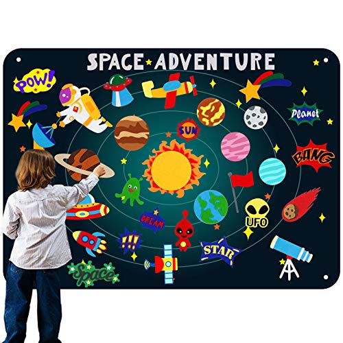 Outer Space Felt Flannel Boards Stories Sets for Preschool Toddlers, Christmas Craft Toy for Children, with Solar System Felt Precut Figures, Large 3.5 Ft Wall Storytelling Play Kits