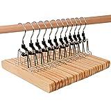HIMETSUYA スカートハンガー 木製 ズボンハンガー 跡がつかない 収納ハンガー 12本組セット ナチュラル色 HI-013 パンツハンガー