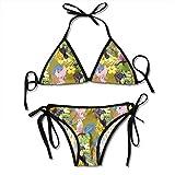 Linda Textura Vintage con tucanes y Flores Conjunto de Bikini Push up Acolchado Traje de baño de Dos Piezas Trajes de baño de Playa para Mujeres Niñas Traje de baño Sexy 2 Piezas Negro