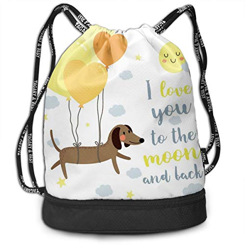 NoBrand Drawstring Backpack String Bag Casual, D2423 Dog With Balloons And Concept Hearts Sun Clouds Puppy Best Friends