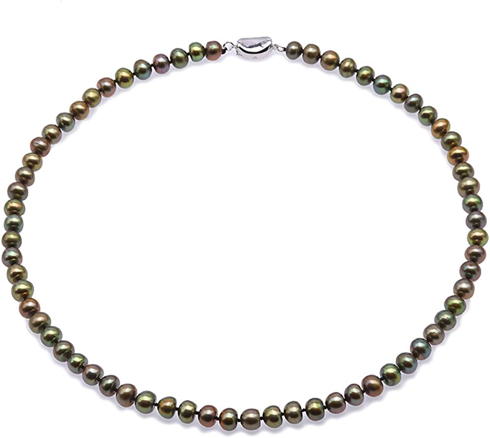 JYX Pearl Strand Necklace AA Quality 6-7mm Peacock Green Flat Cultured Freshwater Pearl Necklace 18