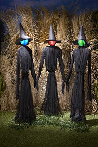The Lakeside Collection Light-Up Witches Halloween Yard Decorations with LED Lights – Set of 3