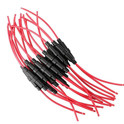 Gebildet 6 x 30 mm AGC-Sicherungshalter, Inline-Schraub-Typ mit 16 AWG Draht, 32V 20A Sicherungskasten für Schnell-Schlag Glassicherung (15 Stück)