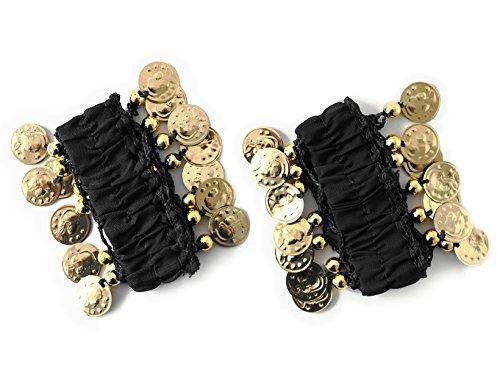 MyBeautyworld24 Belly-Dance Handkette (Paar) schwarz m. goldfarbenen Münzen Armband Handschmuck Fasching Bauchtanzen