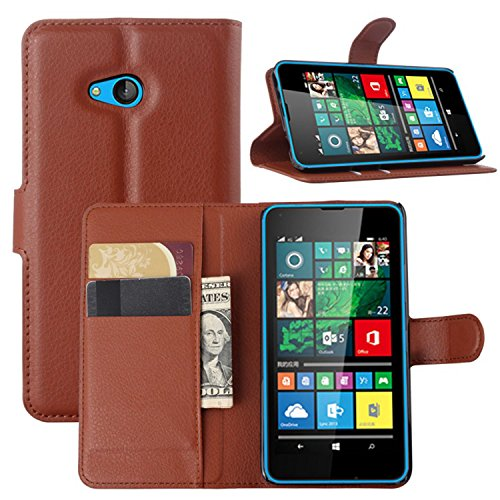 Ycloud Tasche für Microsoft Lumia 640 Dual-SIM Hülle, PU Ledertasche Flip Cover Wallet Hülle Handyhülle mit Stand Function Credit Card Slots Bookstyle Purse Design braun