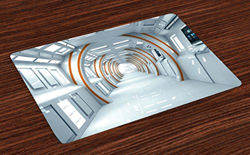 Ambesonne Fantasy Place Mats Set of 4, Futuristic Hallway of Spaceship Digital Architecture Sci Fi Style Inner View, Washable Fabric Placemats for Dining Room Kitchen Table Decor, Baby Blue Orange