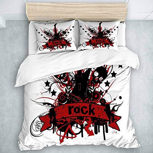Bettbezug-Set, Rock'n'Roll-Guita-Skelett auf dem weißen Hintergrund, All Seasons Quilt Set Decke 3 Stück