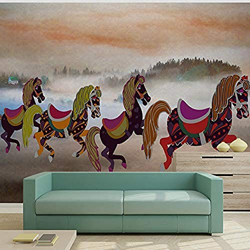 XHXI 3D Art Mural Wall Wallpaper Custom 3D Wall Mural Modern Pony Pentium Pattern Simple Living Room TV Background Wallp 3D Wallpaper Paste Living Room The Wall for Bedroom Mural border-200cm×140cm