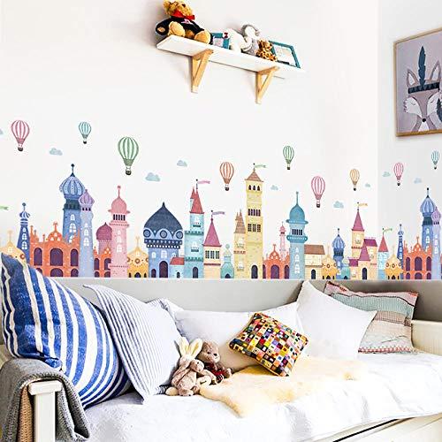 U/N Castle Wall Stickers for Kids Room Kindergarten Nursery Wall Decals Self-Adhesive Vinyl PVC Wall Murals50×160cm