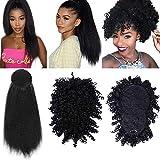 2 pezzi Afro High Puff Hair Bun con frangia corta crespo crespo ananas ricci coda di cavallo Clip in Updo e avvolgere intorno 24 pollici estensioni dei capelli dritti crespi sintetici