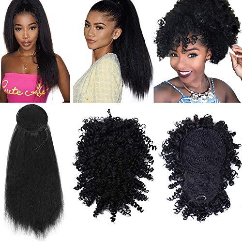 Lot de 2 chignons afro avec frange courts crépus bouclés ananas queue de cheval à clipser et enrouler autour de 61 cm Synthétiques Kinky Droites Extensions de cheveux pour femme