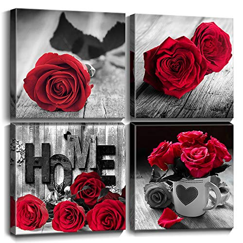 """Red Rose Flower Wall Decor Bedroom Black and White Canvas Art Home Decorations Love Couple Women Girlfriend Gifts Warm Theme Photo Print Paintings Pictures Kitchen Bathroom Office 4Pcs 12x12"""" Set"""