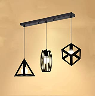 Suspension Luminaire 3 Lampes Industrielle Plafonnier Lustre Vintage Lampe de Culot E27 en Métal pour Cuisine Salon Salle ...