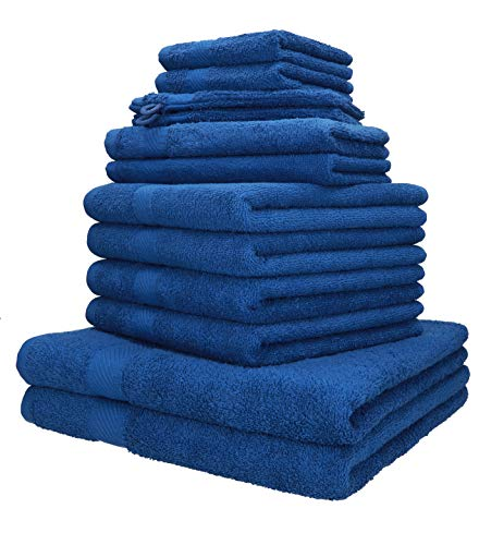 Betz 12-TLG. Handtuch-Set Palermo 100{4d7e3c66cdcc5e677f6c9943e48c69b7755c0acff4f6e6e2340460e10d56e23e} Baumwolle 2 Liegetücher 4 Handtücher 2 Gästetücher 2 Seiftücher 2 Waschhandschuhe Farbe blau