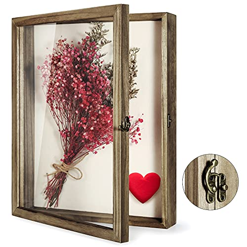 TJ.MOREE Shadow Box Display Case 13 x 16 Flowers Shadow Box Frame with Glass Window Picture Frame...