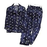 Mujer Satin Pijama Set - Conjunto De Pijama De Satén para Hombre - Conjunto De Pijama con Botones De 2 Piezas Cárdigan Casual De Seda Sintética Ropa De Dormir De Manga Larga - Primavera O