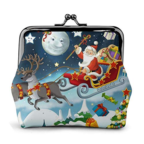 Merry Christmas Santa Claus Reindeer Sled Pu Leather Exquisite Buckle Coin Purses Vintage Pouch Classic Kiss-Lock Change Purse Wallets Gift