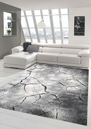 Traum Teppich Designerteppich Moderner Teppich Steinoptik Wohnzimmerteppich Öko-Tex in Grau Schwarz, Größe 160x230 cm
