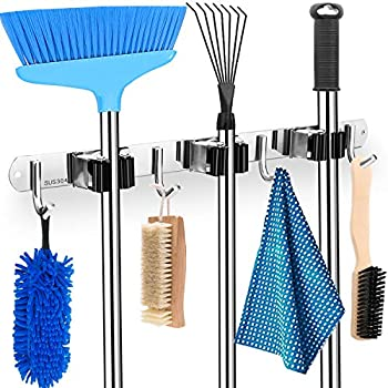 Mop and Broom Holder with Metal Hooks
