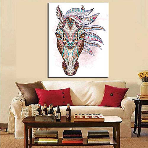 HD Print geometrische Tattoo Indiase paard hoofd schilderij op Canvas moderne Wall Art foto voor woonkamer Decor 50 x 70 cm zonder lijst